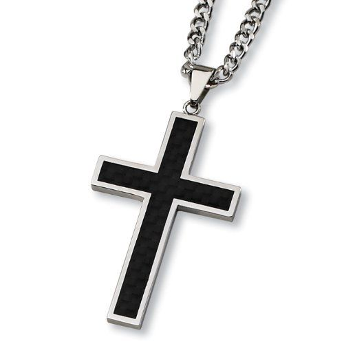 Black Carbon Fiber and Polished Stainless Steel Cross Necklace on 24 Inch Chain West Coast Jewelry. $29.95. Chain Included. Carbon Fiber Inlay. Stainless Steel. Save 50% Off!
