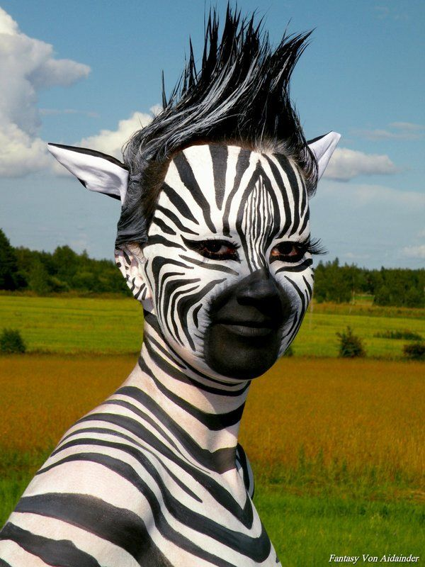 Happy Zebra. Doesn't she make you smile?! Although the model's face is much flatter than that of a Zebra's, the artist did an amazing job!