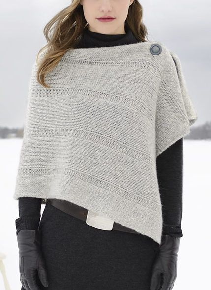 """Free Until Dec. 31 2017  Easy Sasha Wrap Knitting Pattern - Free until Dec. 31, 2017 with coupon code sasha13.Rectangular shawl in bulky weight yarn. 2 sizes S/M (M/L) Width: 20 (24)"""" Length: 52 (52)"""". Designed by Sarah Smuland. Rated easy by Ravelrers"""
