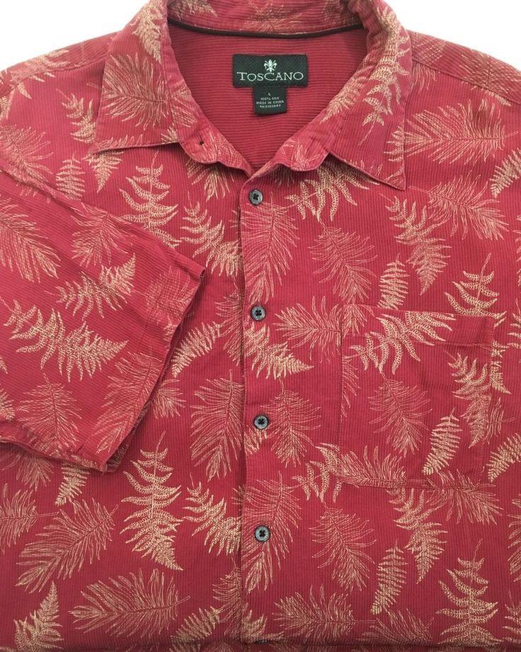 Toscano Mens Silk  Hawaiian Shirt L Fern Leaf Ribbed Cranberry Red Short Sleeve #Toscano #Hawaiianshirt #redfernleafshirt