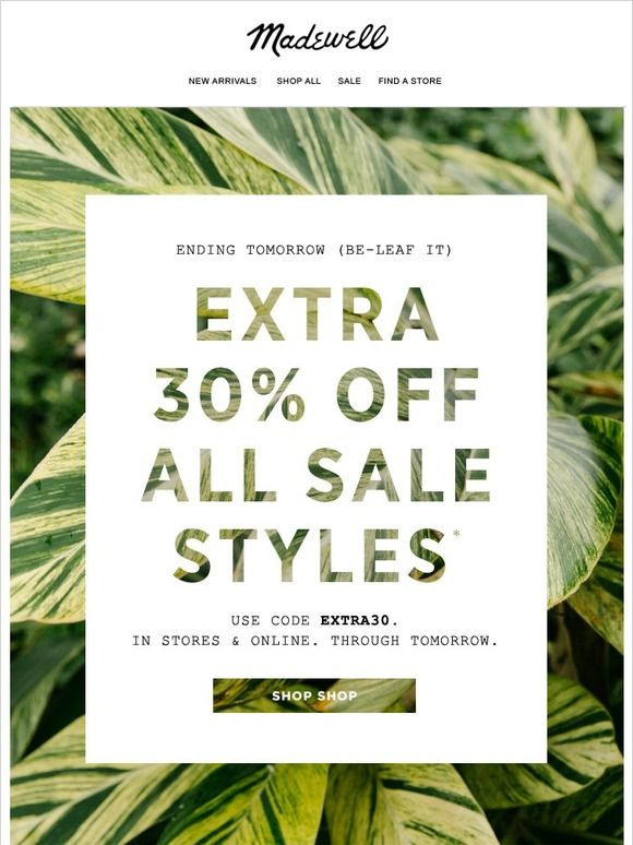 While you still can: extra 30% off
