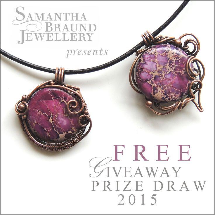 FREE Giveaway contest 2015 for these 2 Boho Copper wirewrapped pendants by Samantha Braund Jewellery . Click image for full details on how to enter