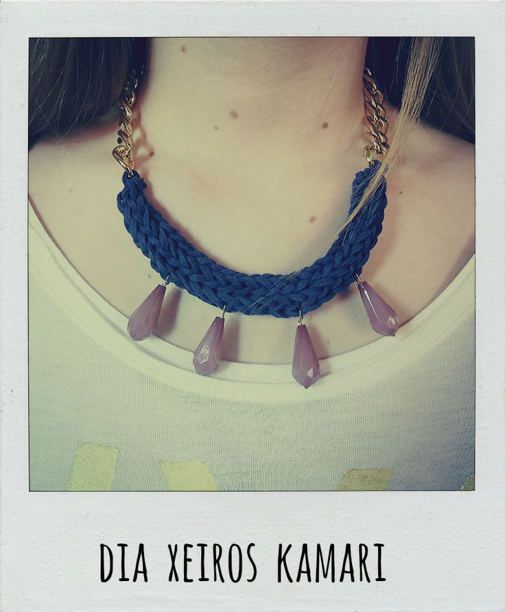 #handmade #necklace #pink #blue #drops #rope #Greece