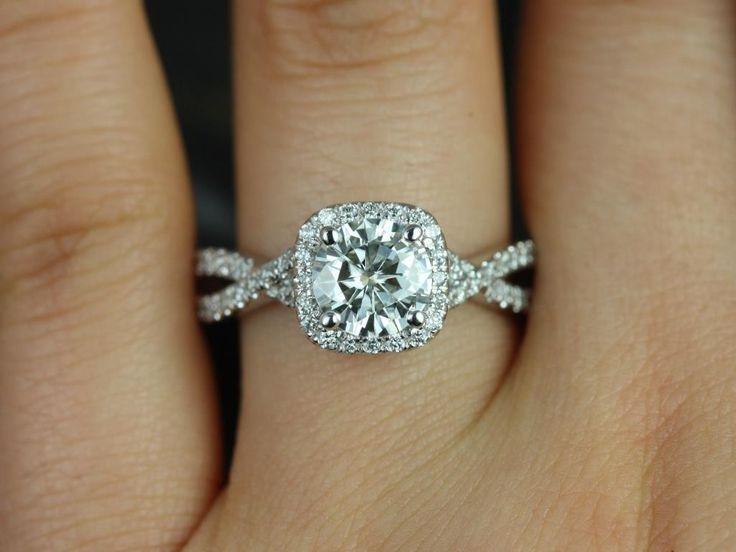 Rosados Box Josephine 7mm White Gold Round FB Moissanite and Diamonds Twisted Cushion Halo Engagement Ring