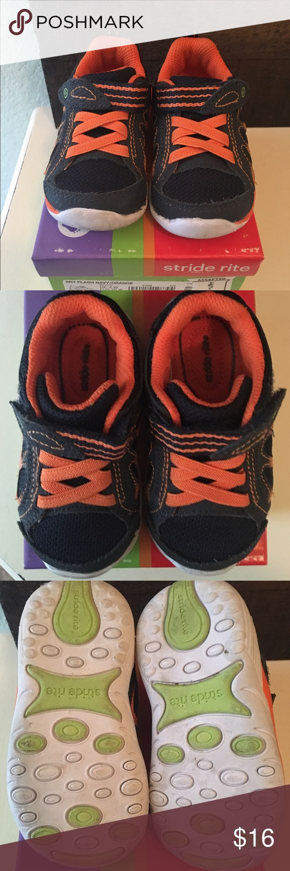 Stride Rite 4.5 Wide Navy and Orange Sneaker Stride Rite 4.5 Wide Navy and Orange Sneaker. Listing as GUC as they have been worn, but only a handful of times. Box not included. Smoke free, dog friendly home. Stride Rite Shoes Sneakers