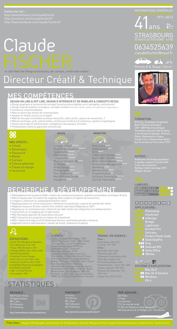 My Cv Claude Fischer French Designer Resume Design Design Curriculum Vitae