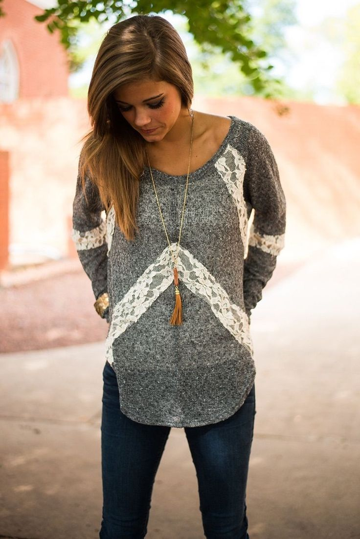 A soft and cozy sweater is perfect for the cooler weather!  Perfect with leggings or jeans.   Amazing lace detail on this sweater!  Flattering on all body types.