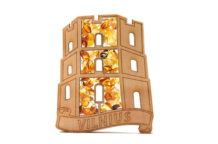 FRIDGE MAGNET FILLED WITH NATURAL BALTIC AMBER (LITHUANIA) #amber #bernstein #gift #souvenir #lithuania #vilnius #baltic #wooden #share