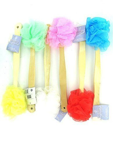 """96 Packs of Exfoliating body scrubber by Bulk Buys. $99.36. Scrub brushes with handles are the perfect shower and bath accessory. Each brush has a long wooden handle for hard to reach places and soft nylon head. Ideal for keeping skin and soft. Comes in assorted colors including pink, sea green, yellow and red. Handles have a hanging loop for easy storage. Comes packaged loose with UPC label on handle. Measures 13"""" long from tip to tip."""