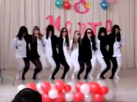 optical illusion dance - half black half white outfits.  SO FUNNY!