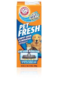 This works wonders on carpet with pet odors! Just sprinkle the powder and vacuum. ARM & HAMMER™ Plus OxiClean™ Dirt Fighters Carpet Odor Eliminator– Pet Fresh