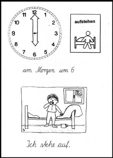 Die Broschüre ist der Leitfaden zum Lesen lernen der Uhr und Erfassen des Tagesablaufes mit Hilfe von Piktogrammen (Erläuterun