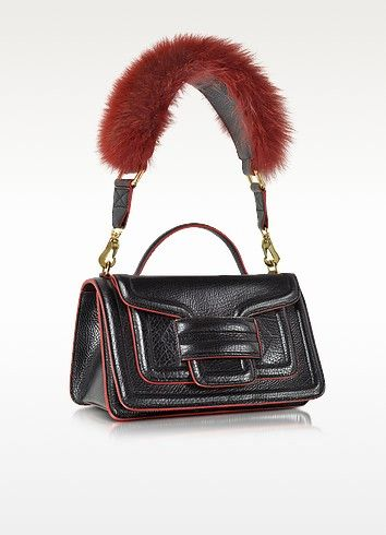 Alpha Plus Black and Red Leather Handbag w/Fur Detail - Pierre Hardy