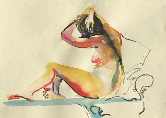 Nude painting Original watercolor painting of Nude 1455 by Gretchen Kelly