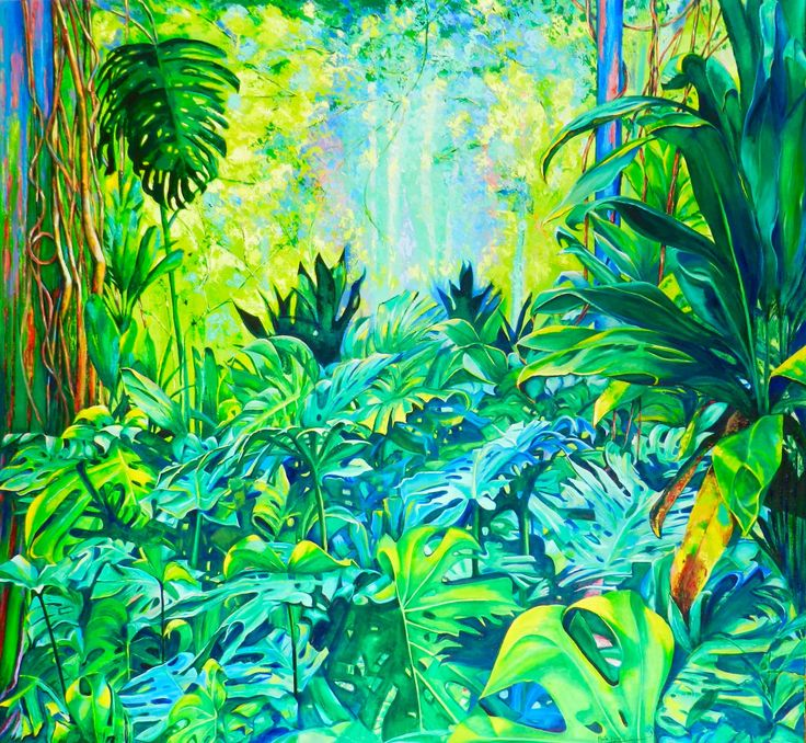 Borobudur (2016) Oil on Canvas 140 x 130 cm, The last painting to complete the collection Magic Forest by Maite Rodriguez www.maiterodriguez.es