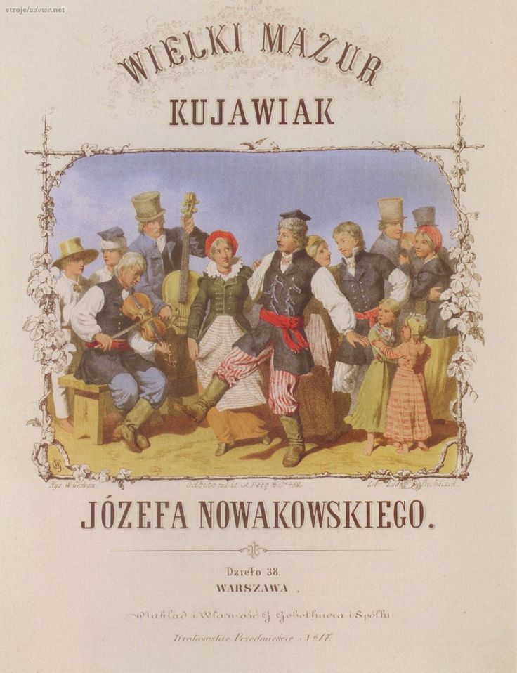 Wielki mazur. Kujawiak, Józefa Nowakowskiego (okładka nut)  Ludwik Piechaczek, Wojciech Gerson, 1856-59, chromolitografia  ze strony: http://strojeludowe.net/#/kujawski/1/4