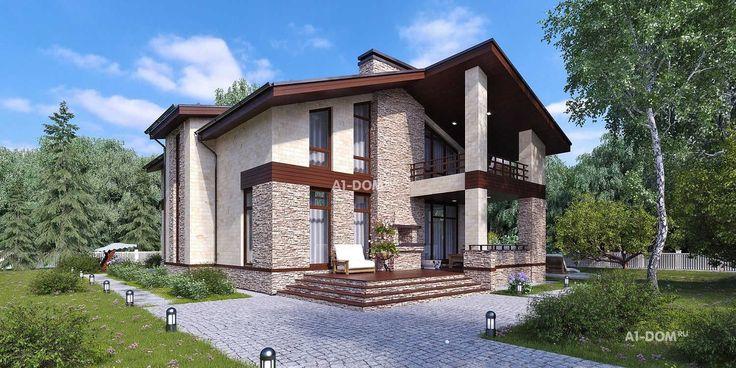 Готовый проект большого одноэтажного дома с мансардой - «Лидфорд»