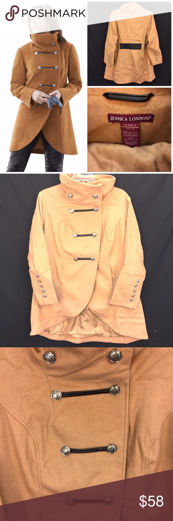 "NWT Jessica London Plus Sz 20 Military Camel Coat New in manufacturer's original packaging camel wool blend coat by Jessica London; plus size 20 * Features funnel neck; military-style buttons; tulip hem in front; hi-low hem; lined; front pockets * Please see below for measurements; all measurements taken with garment lying flat.  Please see all photos for complete condition assessment. Shoulder to Shoulder: 19.5"" Armpit to Armpit (Bust): 27"" Waist: 25"" Overall Length: 35"" Sleeve: 25"" Item…"