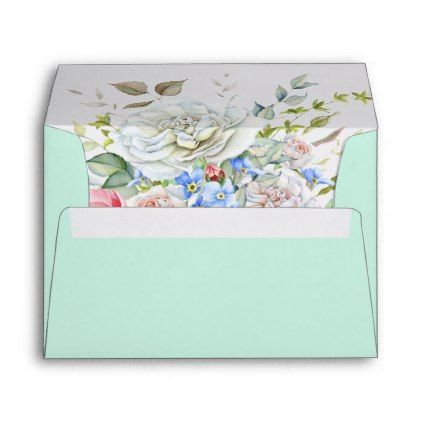 Watercolor Flower Bouquet Ivory Blue Any Color Envelope - floral style flower flowers stylish diy personalize