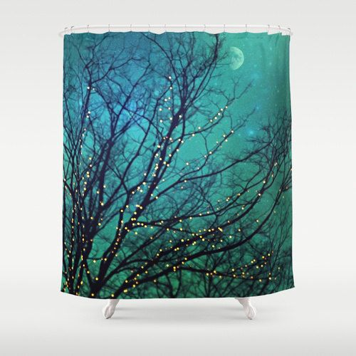 "Aqua Shower Curtain ""Magical Night"" clouds,lights,stars,sky, night, trees,turquoise,blue, teal, bathroom, home decor,twinkle,nature on Etsy, $64.99"
