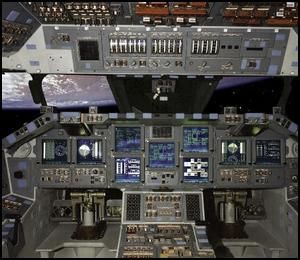 Space shuttle cockpit upgrade, March 2000.