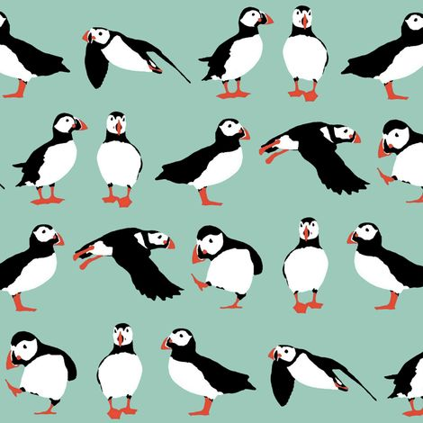just puffins fabric by scrummy on Spoonflower - custom gift wrap #Spoonflowerwrapper,