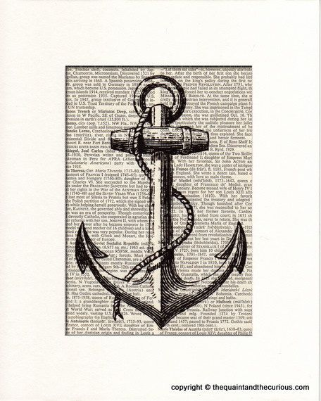 Anchor Art Print   Nautical Decor   Picture Gift Present Home Office Decor    MATTED.