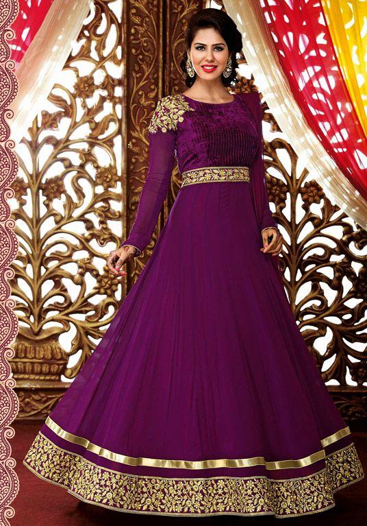 $67.92 Purple Satin Chiffon Floor Length Anarkali Suit 57162