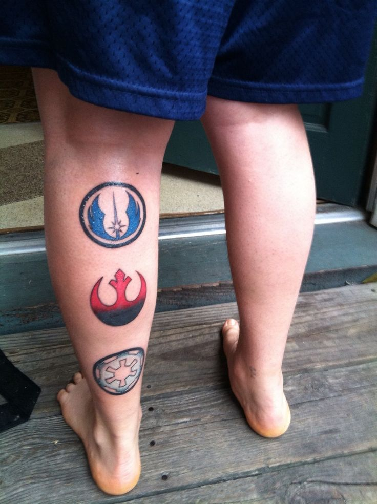 The Jedi knight symbol, rebel alliance symbol, and the galactic empire symbol. reminds me to be an elite warrior with a moral compass, not t...