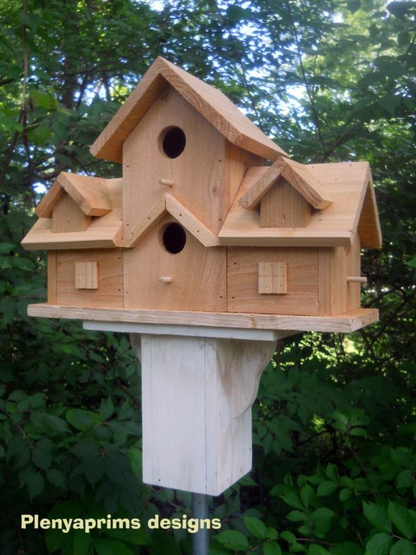 Birdhouse. 4 nest bird house.rustic  folk art primitive made in the USA