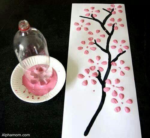 stempelen met onderkant plastic flessen