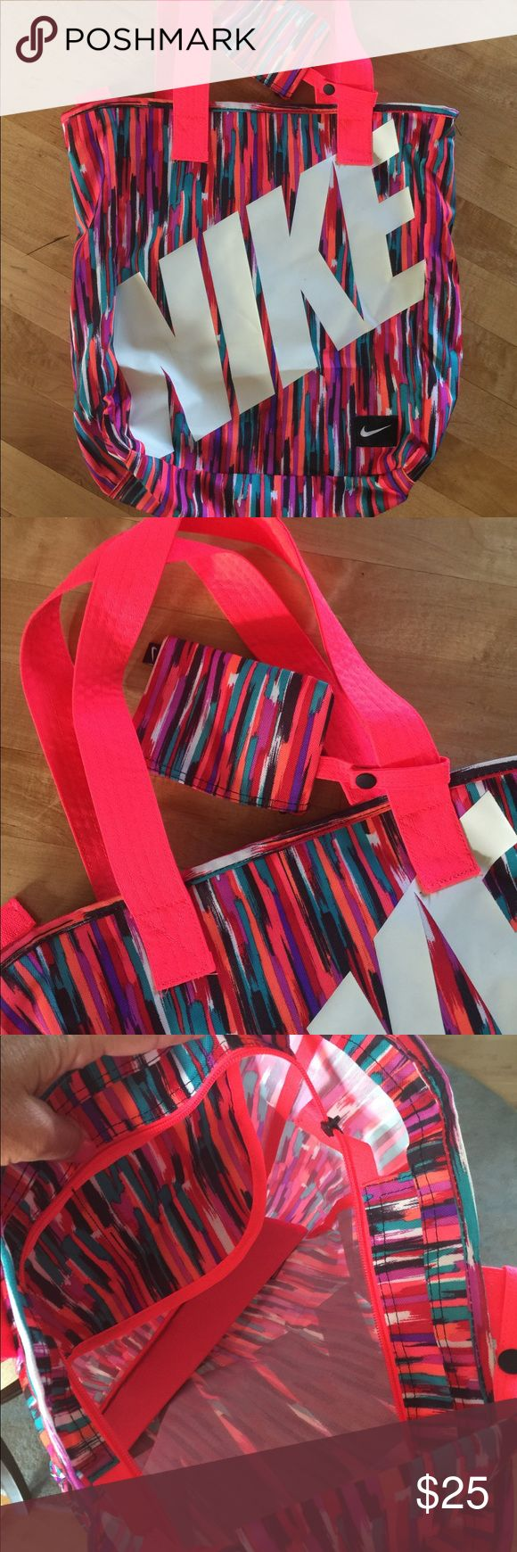 Bright colored Nike tote bag Zipper closure and inside pockets. 13 inches wide 15 inches tall. MeD Nike Bags Totes