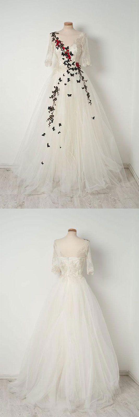 White v neck tulle lace long prom dress, white evening dress