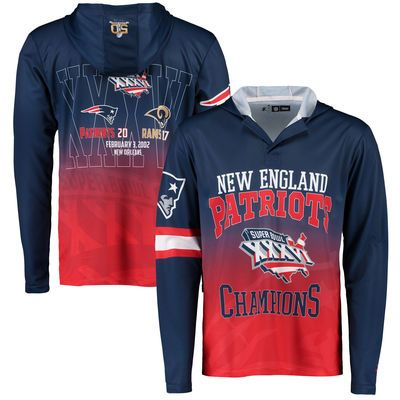 Men's Klew Navy New England Patriots On the Fifty Matchup Hooded Long  Sleeve T-Shirt