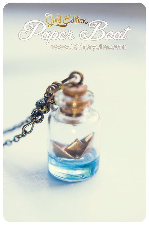 Goldene Papierschiff Flasche Glas Flasche Anhänger Halskette