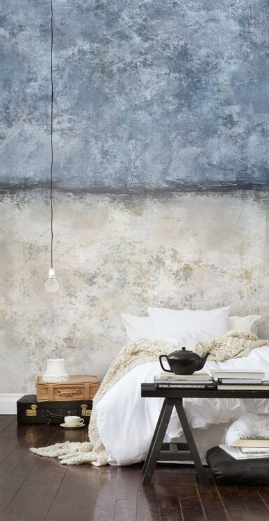 Bedroom accent wall, surrounding walls light grey. Room accents matching wall, also of wood, and burlap.