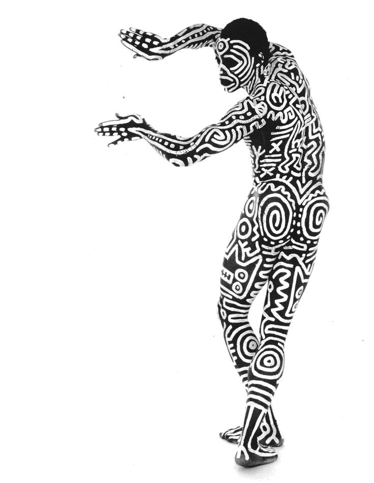 Body painting on Bill T. Jones by Keith Haring, 1983. Photo by Tseng Kwong Chi. / New York Live Arts