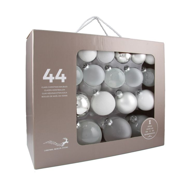 44-piece glass Christmas baubles set. Shiny, clear and glitter silver-white mix | It's all about Christmas