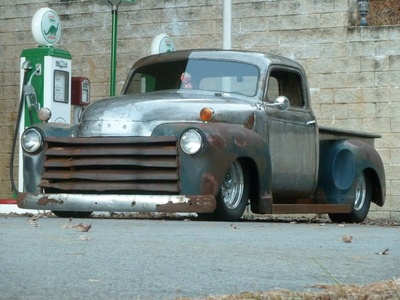 1949 Chevy Truck Rat Rod...slammed with aircraft riveting and a little rust.