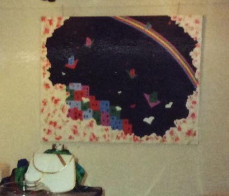 """Fra serien """"Et øjebliks klarsyn"""" VIII, fra 1988/89 Akryl på lærred. 100 x 120 cm"""