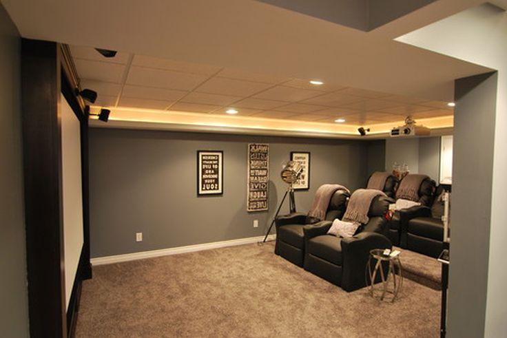 Amazing Grey Painted Wall Color Schemes Small Basement Ideas With Black Vinyl Reclyning Sofas As Well As False Ceiling Lights As Inspiring Modern Media Room Designs