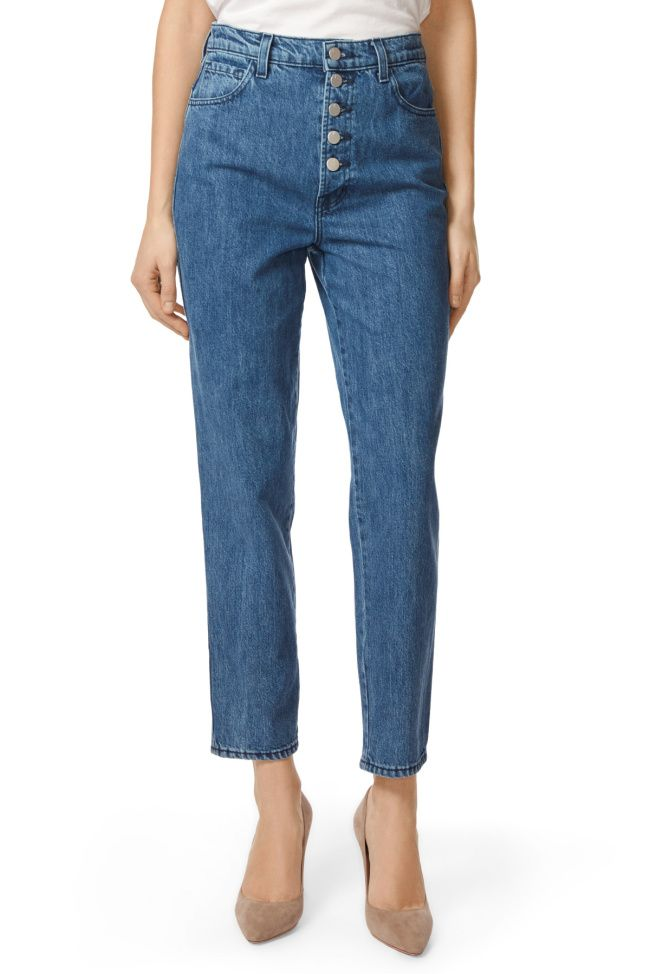 cd589850387c High-Rise Heather Button-Fly Jean In Electrify