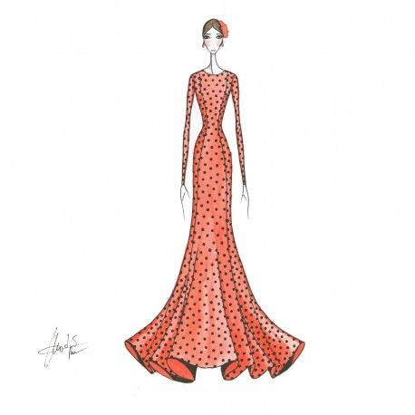 Patrón cuerpo base de nesgas, con mangas. #moda #flamenca #patrones #volantes #lunares #sketch #dibujo #boceto #pintura #modelo