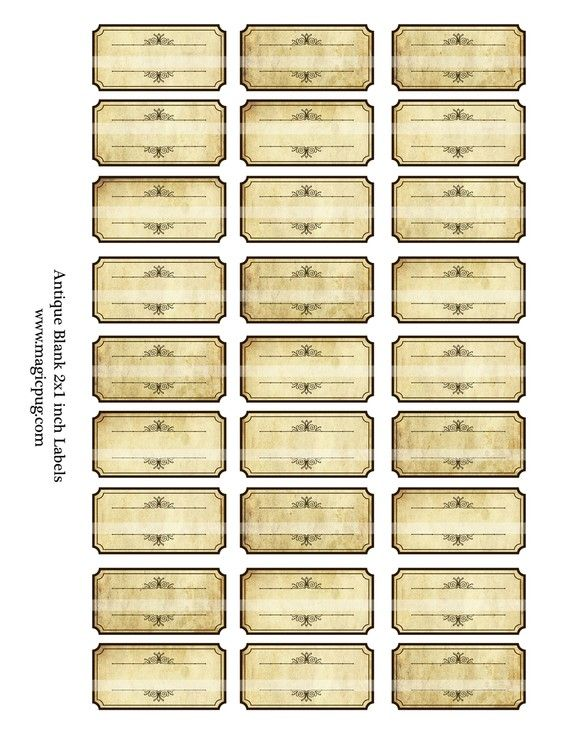 Antique Sepia Blank Labels digital collage sheet by magicpug, $4.00