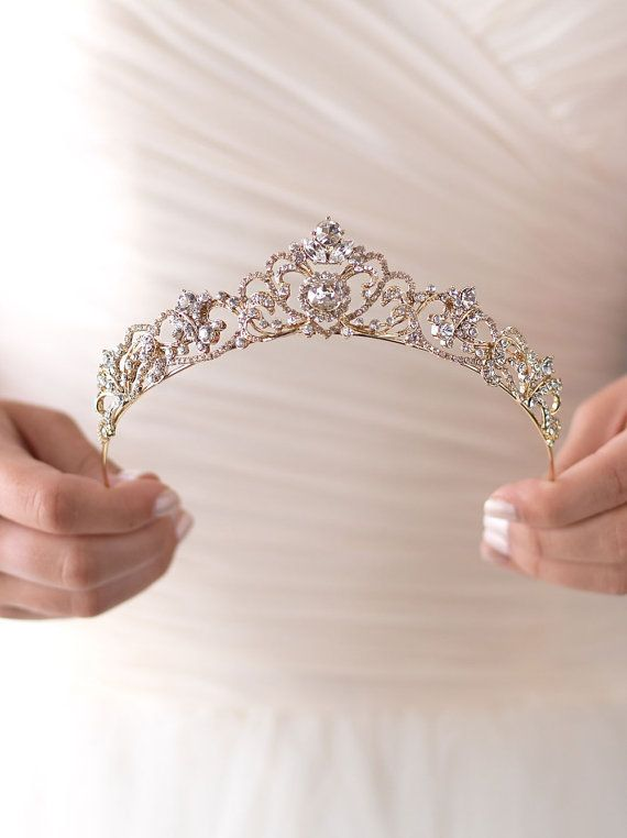 Gold Rhinestone Wedding Tiara Royal Bridal Crown Gold by USABride