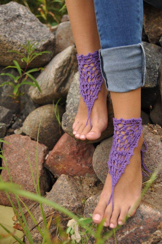 Púrpura sandalias Descalzas Crochet, zapatos Nude, joyería, boda, Yoga, tobillera, danza del vientre, pies descalzos novia, regalo de Dama d...