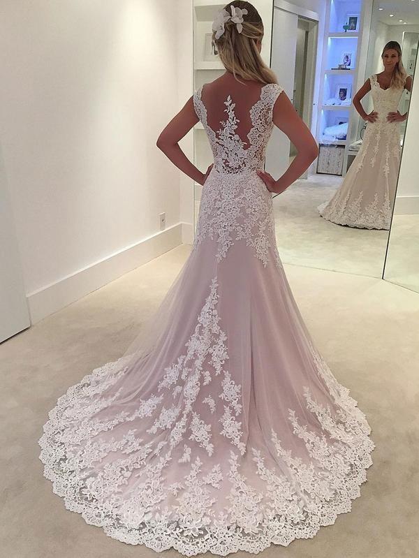 Lace Appliqued Bridal Wedding Gowns,Sheath Wedding Dresses SWD0061 #weddingdresses #Weddinggowns