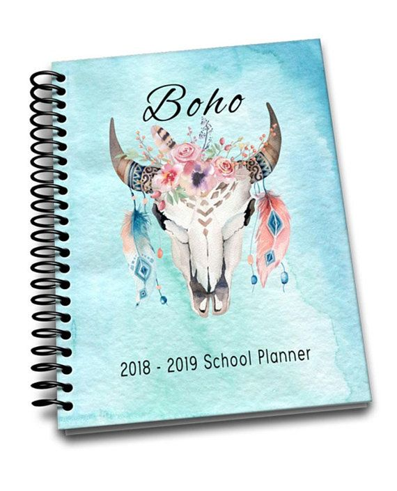 2018 - 2019 Academic & School Planner | 2 pages a week | Class Schedules | Passwords | Friends List | Notes | Boho