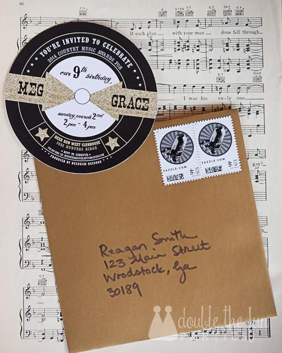 Record album invitation by Anders Ruff for Country Music Awards Party by Double the Fun Parties