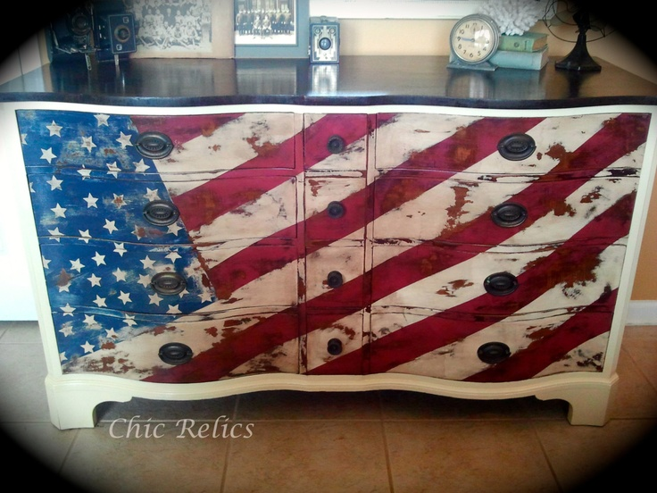 Hand Painted Old Glory Serpentine Solid Mahogany Dresser 99 best red  white and blue furinture images on Pinterest  . Red White And Blue Painted Furniture. Home Design Ideas